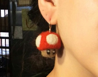 Mario Mushroom Video Game Earrings, Felted Wool with Sterling Silver Wires