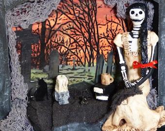 Skeleton Wall Art - Skeleton Doll Diorama - Shadow Box Art - Dark Home Decor - Paperclay Skeleton Doll - Macabre OOAK Art