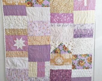 Lavender Lemonade - Patchwork Baby Quilt, Modern Baby Quilt, Crib Quilt, Patchwork Quilt, Modern Nursery