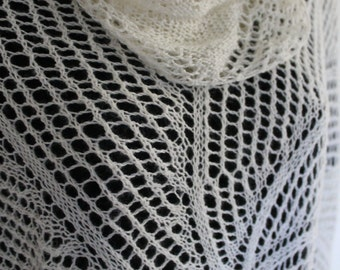 Silk and Wool Lace Circular Shawl in White