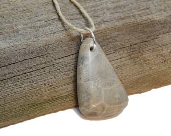 Polished Petoskey Stone Pendant, Light, Drilled beach stone Genuine Lake Michigan Fossils, up north treasures, rustic artisan jewelry supply