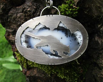 snow leopard mountain sterling silver dendritic opal necklace - leopard - snow - statement necklace - mountain necklace - reversible