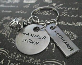 hammer down! - hand stamped overwatch reinhardt inspired keychain with knight helmet charm