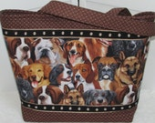 Dog Lovers Large Tote Bag Rescue Dog Purse Brown And Tan Puppy Dog Tote bag Ready To Ship