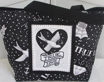 Black And White True Love Tattoo large Tote Bag  40's Inspired Shoulder Bag Alternative Fashion Market Tote  Rocker Chic Purse Ready to Ship