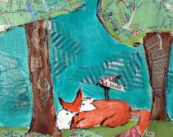 Fox and bird reproduction art print, child's room wall art,  canvas giclee reproduction, teals and oranges, life is extraordinary,