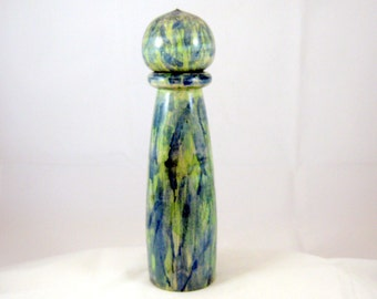 Pepper Mill Salt Mill Spice Grinder Dyed Green and Blue Maple  with Crushgrind mechanism