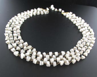 White Agate Necklace, Statement Necklace, Multi Strand Agate Necklace, White Necklace, Agate Chip Necklace,