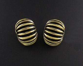 Mimi Di N Earrings, Gold Earrings, Gold and Black Earrings, Dome Earrings, Designer Earrings, Fluted Earrings, Statement Earrings