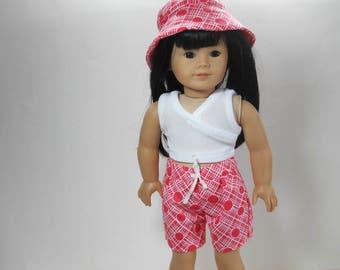 18 inch doll clothes made to fit dolls such as American Girl®  Three Piece Top Board Shorts and Hat, 04-1993