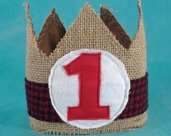 Lumber Jack birthday crown, red black, burlap, boy crown, one, H163_ first birthday photo prop
