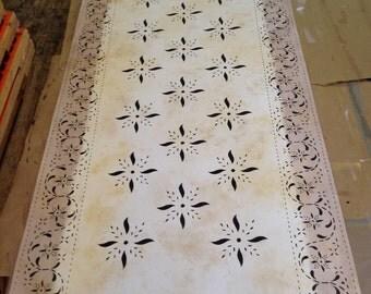 Custom Canvas Floorcloth - Mayhouse on Mottled Ivory
