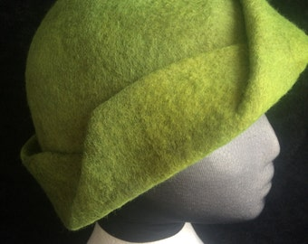 Cloche style hat, wet felted and hand dyed merino wool