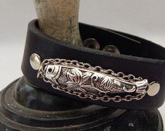 Black Leather Silver Fish Cuff Bracelet Handmade Accessories New Adjustable
