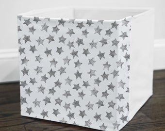 Grey Starry Watercolor // Storage Bin Cover // Fits into Ikea KALLAX or EXPEDIT shelf unit  // Ikea DRONA Box Cover