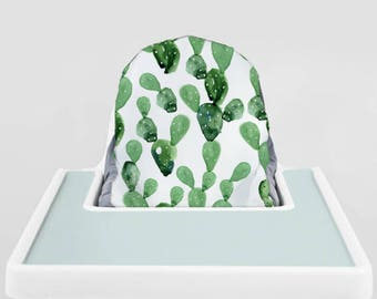 Emerald Watercolor Cactus // IKEA Antilop Highchair Cover // High Chair Cover for the PYTTIG Cushion // Pillow Slipcover