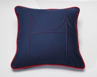 """18"""" Piped Golden Gate Bridge Pillow"""