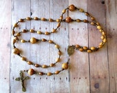 Brown Olive Wood Rosary with Sacred Heart/ Holy Family Center