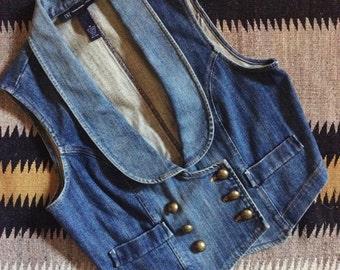 Vintage Women's denim vest Medium (runs Small) with brass buttons, 80s clothing rocker disco fashion, women's jean vest vintage clothing