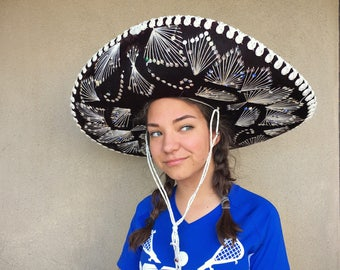 """Vintage 25"""" authentic Mexican Pigalle brand black vevet with white thread and golden sequins sombrero, mariachi hat, Mexican hacienda decor"""