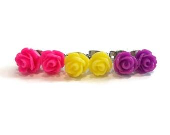 Tiny Roses Earrings Set, Hot Pink Earrings, Bright Yellow Earrings, Purple Earrings, Colorful Rose Stud Earrings, Cute Flower Earrings