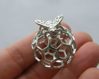 1 Bee and honeycomb charm silver tone A472