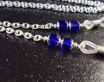 Sapphire Blue crystal cubes and Silver Chain Eyeglass Lanyard