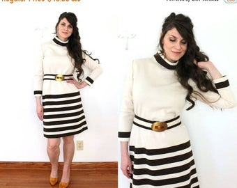 ON SALE 1970s Wool Dress / 70s Wool Knit Striped Cream and Brown Mod Sweater Dress