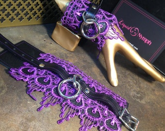 L'Oiseux Bondage Cuff Wrap Bracelet Black Leather Purple Lace Fetish Bracelets - BDSM Kitten Play Wrist Restraints -Lolita Dominant Bracelet