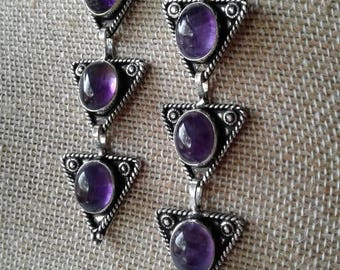 Vintage Purple Triangle Earrings