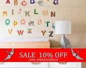 Sale - Alphabet Wall Stickers, Alphabet Animals - Peel and Stick Wall Sticker