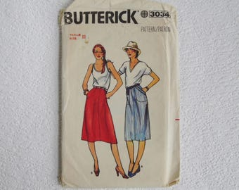 Vintage Sewing Pattern, Butterick 3034 Skirt Pattern, Size 12-14-16, Waist 26-28-30, Uncut and Factory Folded,