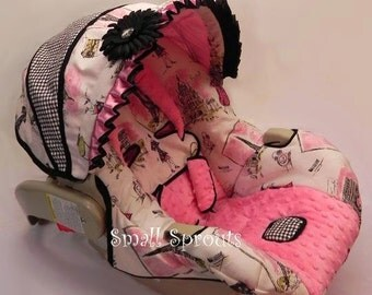 Ooh La La French with Gingham check Infant Car Seat Cover 5 piece set