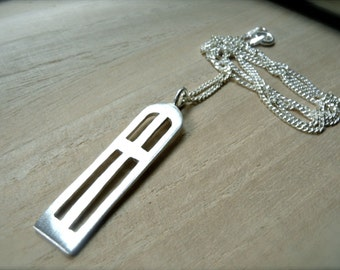 Slim cross silver necklace unqiue cross silver bar pendant - Narrow Gate bible idea jewelry - long cross necklace for her for him