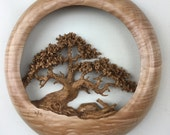 Wood carving of an Oak Tree wall hanging wood home wall decor gift by Gary Burns the treewiz