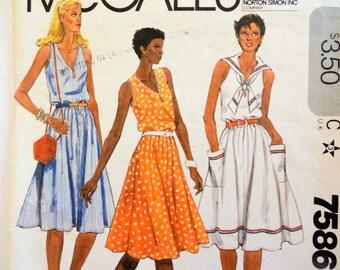 1980s Dress pattern, middy sailor collar, sleeveless dress, full skirt, V neck, vintage sewing pattern McCalls 7586, misses size 14, bust 36