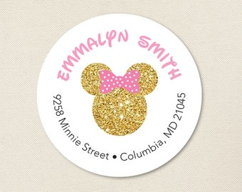 Gold Minnie Mouse Address Labels - Sheet of 24