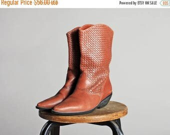 SALE Vintage Brown Woven Western Flat Ankle Boots- Women's Leather Pointed Tall Cowboy Cowgirl Heel Tall - Size 7 1/2