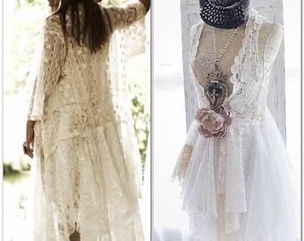 XS S boho Gypsy crochet kimono, Bohemian crochet duster, boho Stevie Nicks Style festival clothing, Kimono Jacket, Boho, True rebel clothing