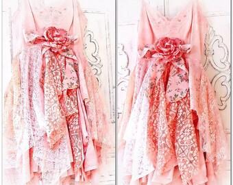 M L Peach Bridesmaid Lace Dress, Boho Dress, Shabby Dress, Gypsy Soul Dress, Bohemian Style Lace Dress, Easter Dress, True Rebel Clothing