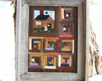 Cabin in the Woods Quilt Framed In Rustic Barn Wood  (Item #144)