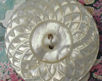 Vintage  36mm  Intricately Carved Shell Button 2 hole 1 Piece