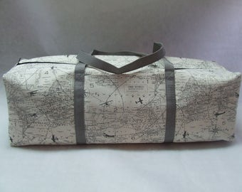 Carrying Case for the Silhouette Cameo 3 / Cricut Explore Air / Explore Air 2 / Brother ScanUcut / Cream and Gray vintage map fabric