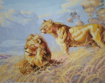 New Finished Completed Cross Stitch - Lion Fields - A59