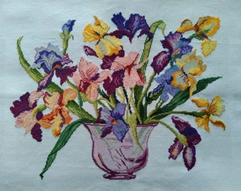 New Finished Completed Cross Stitch - Pansies - Qisehua - F12 - 11CT