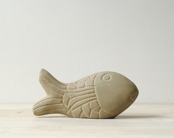 Vintage Carved Stone Fish