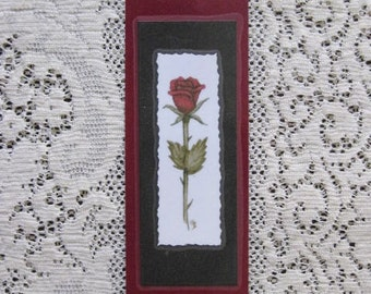 Bookmark Rose-  Hand made from artist Original Watercolor Print - Garden Flower - Laminated