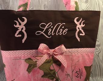 Diaper bag, Pink camo diaper bag, Baby pink camo diaper bag, camo tote bag, pink realtree Choice of name