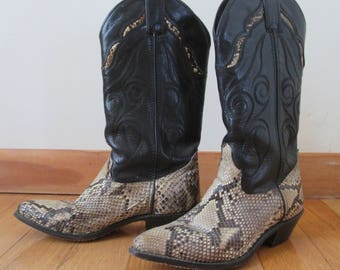 vintage Code West brown leather and snakeskin ladies cowboy boots size 5.5M