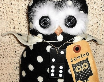 DoMiNo ThE OwL Doll Handmade Primitive Raggedy Owl Doll & Vintage Domino with Tag Hafair